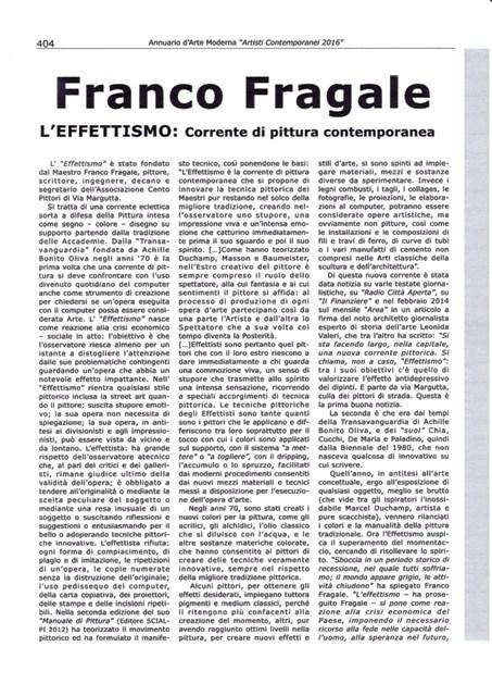"""L'articolo sull'Effettismo pubblicato nel nuovo Annuario d'Arte Moderna """"Artisti Contemporanei 2016"""""""