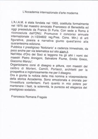 Il Presidente dell'Associazione Francesca Romana Fragale nominata Vice Presidente dell'A.I.A.M.