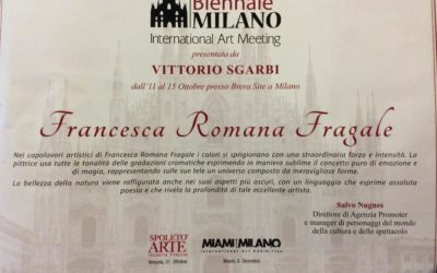Il nostro Presidente Francesca Romana Fragale alla Biennale di Milano a cura di Vittorio Sgarbi, riconoscimenti.