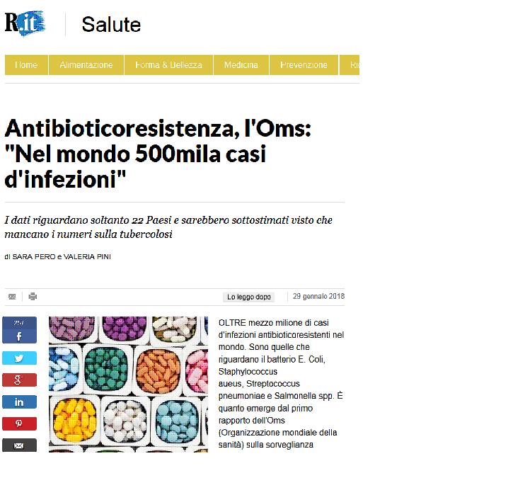 Antibioticoresistenza, l'OMS