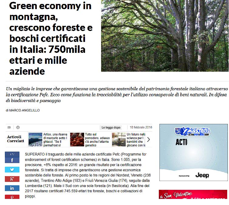 Green economy in montagna, crescono foreste