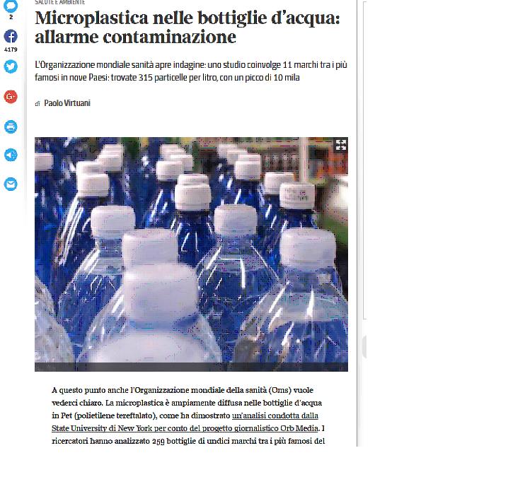 Microplastica nelle bottiglie d'acqua