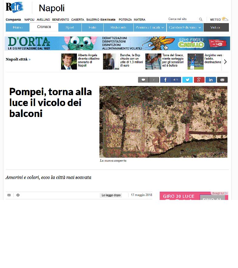 Pompei, torna alla luce il vicolo dei balconi