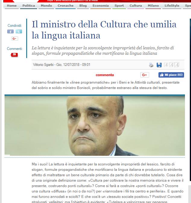 Il ministro della cultura che umilia la lingua italiana.