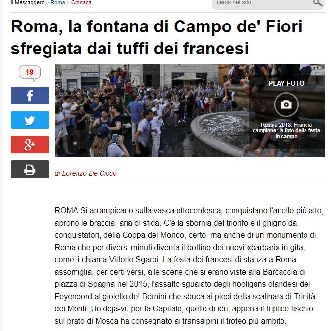 Roma,la fontana di Campo De' Fiori sfregiata dai tuffi dei francesi.