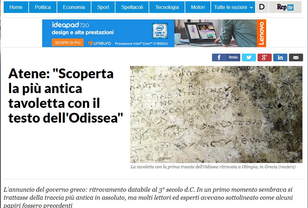 """Atene:""""Scoperta la più antica tavoletta con il testi dell'Odissea"""""""