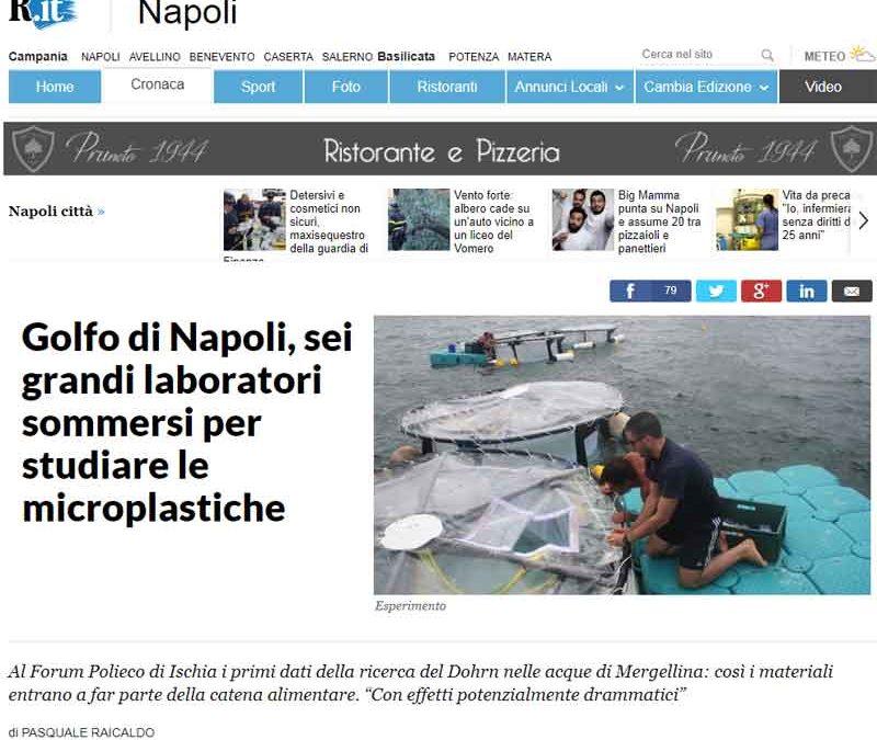 Golfo di Napoli,sei grandi laboratori sommersi per studiare le microplastiche.
