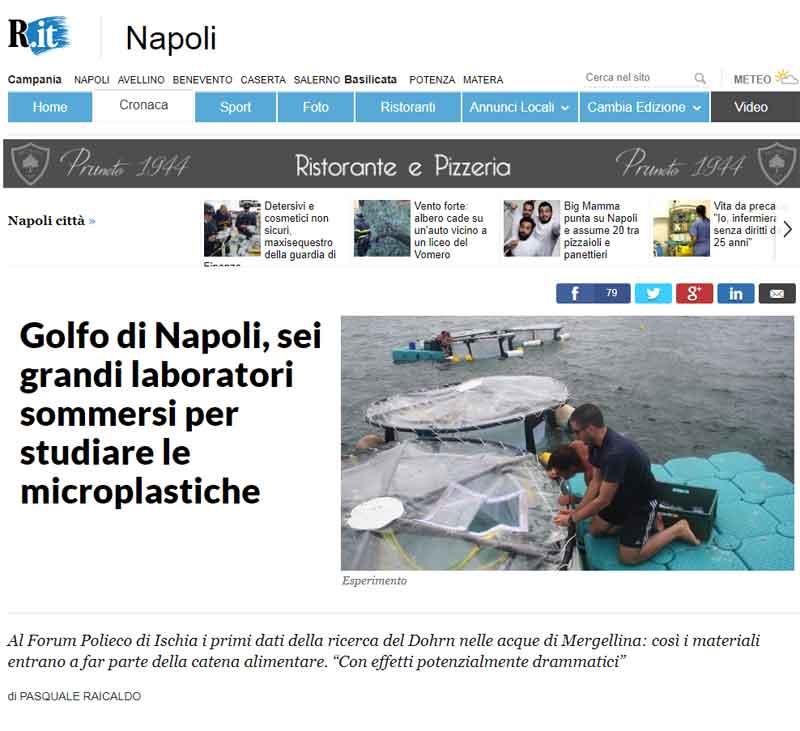 Golfo di Napoli - Laboratori per studiare le microplastiche