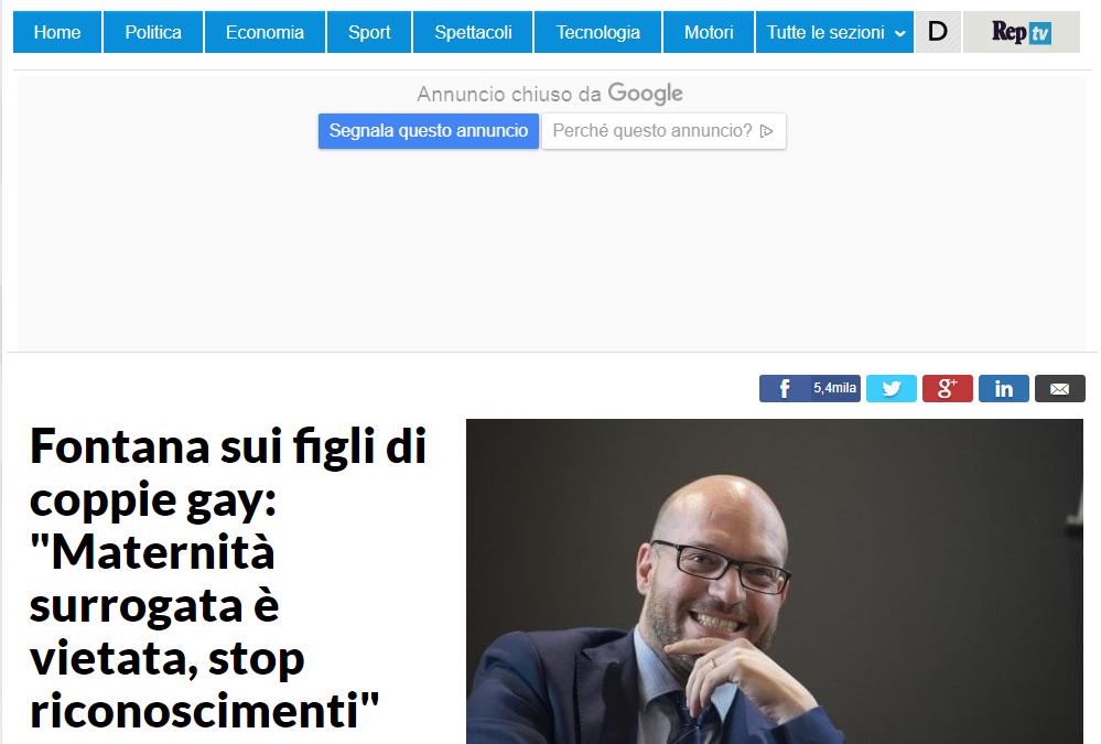 """Fontana sui figli di coppie gay:""""Maternità surrogata è vietata,stop riconoscimenti"""""""