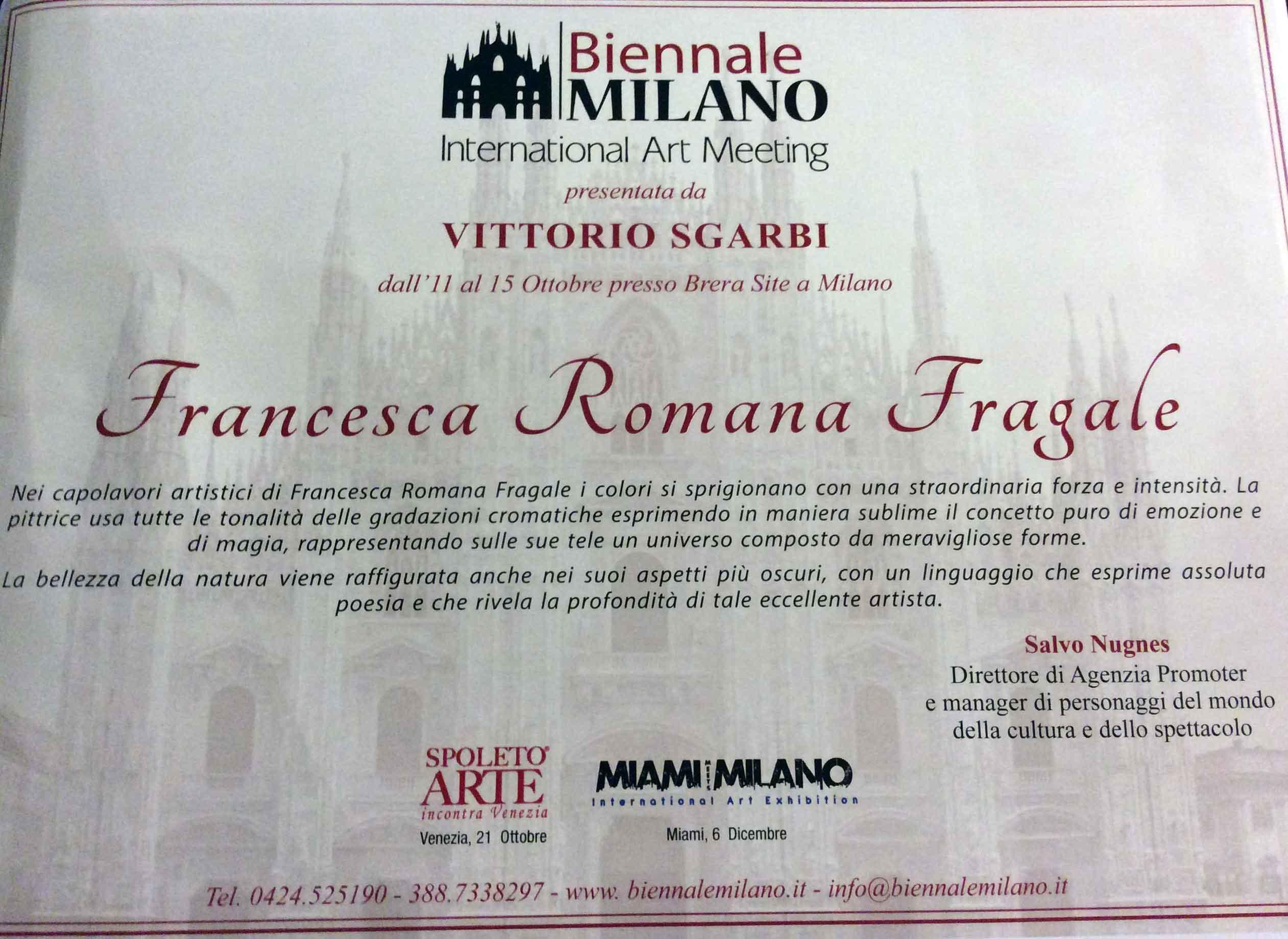 La Fragale pittrice alla Biennale di Milano