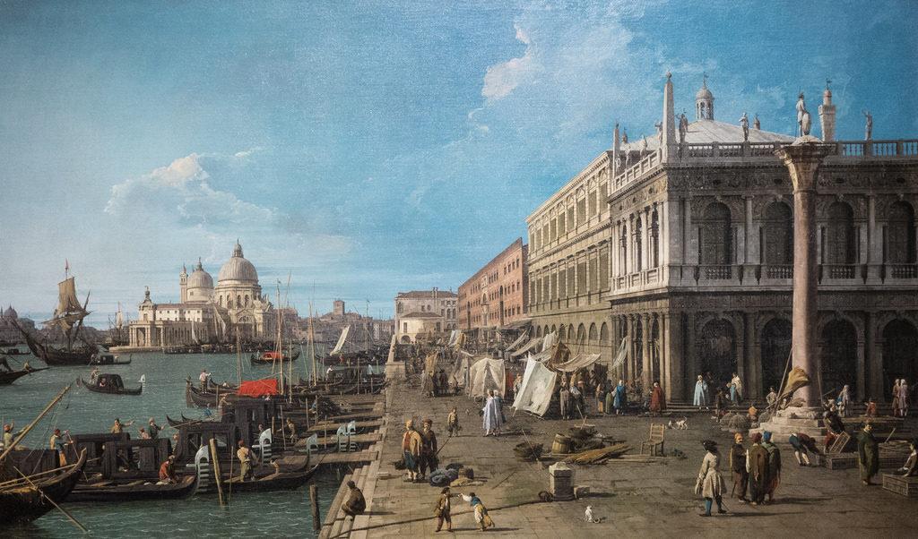 Il Canaletto - Il molo con la zecca e colonne di San Teodoro