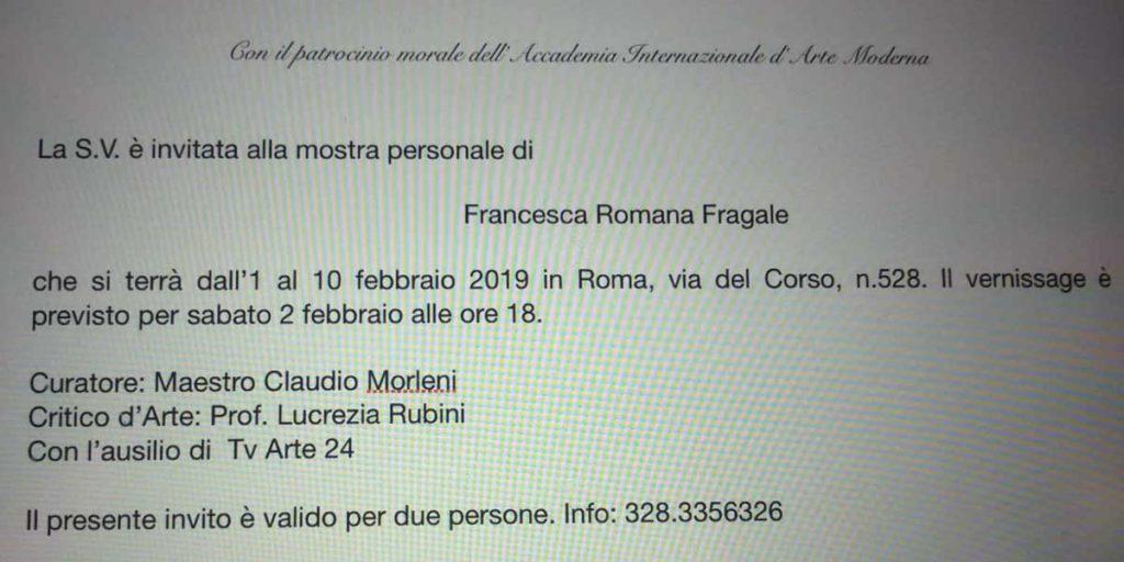 Mostra Francesca Romana Fragale Via del Corso