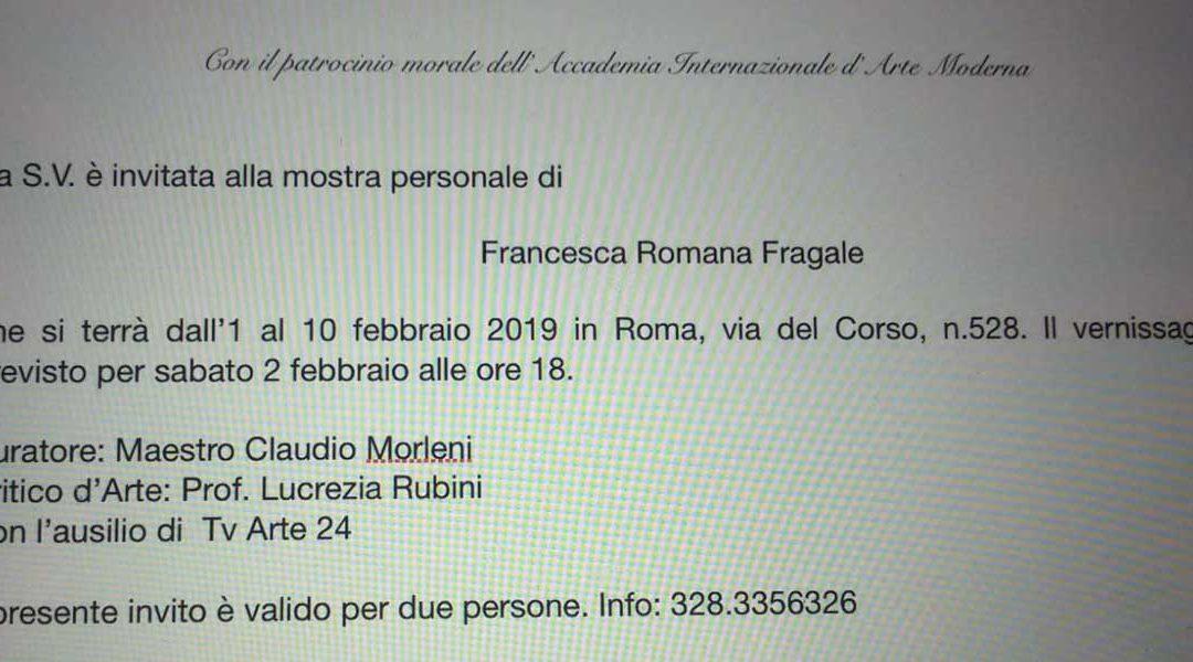 Mostra personale della pittrice Francesca Romana Fragale con il patrocinio dell'AIAM