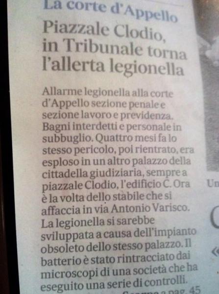 Roma, legionella nei Tribunali