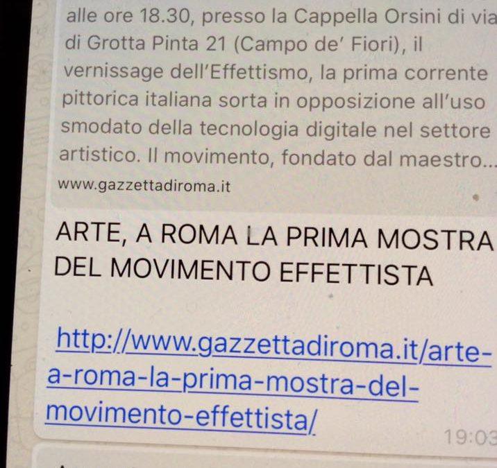 Roma, attesa per la prima mostra degli Effettisti …