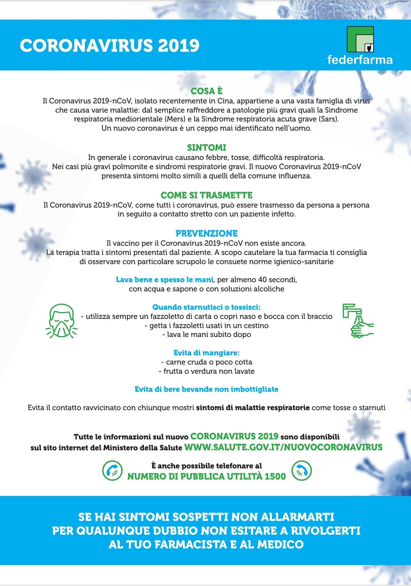 Alcune informazioni importanti sul Coronavirus…
