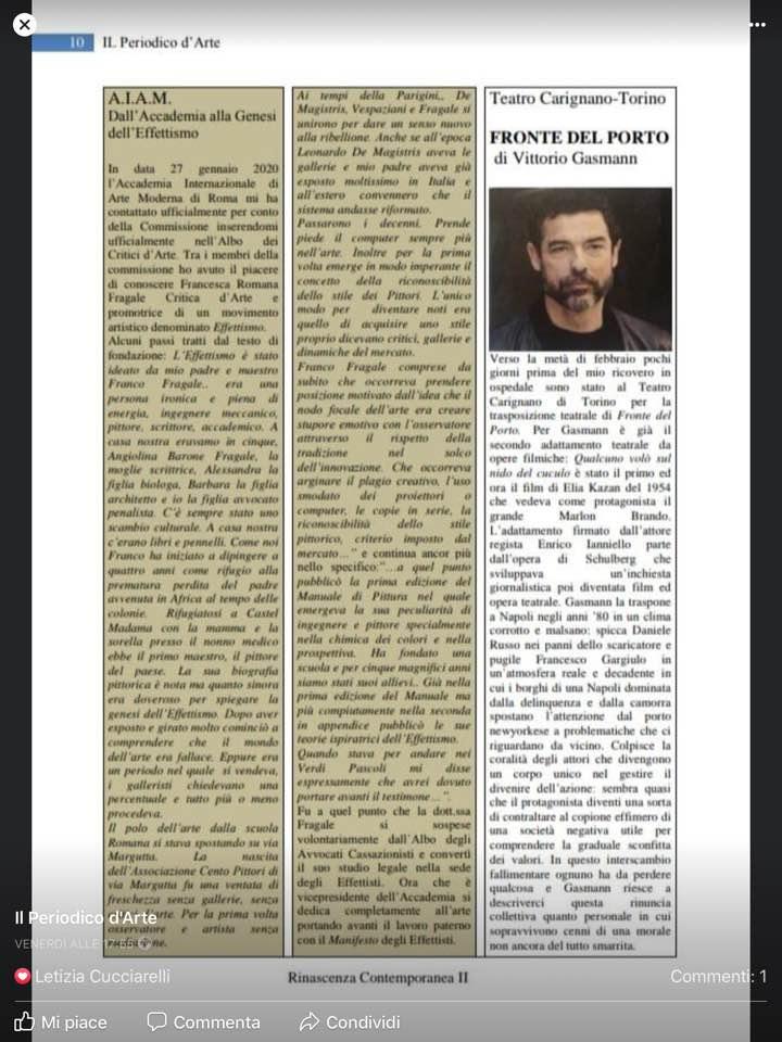 Effettismo e Accademia Internazionale d'Arte Moderna, insieme per l'etica nell'ArteL…